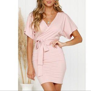 Pretty pink, casual wrap dress, short, M
